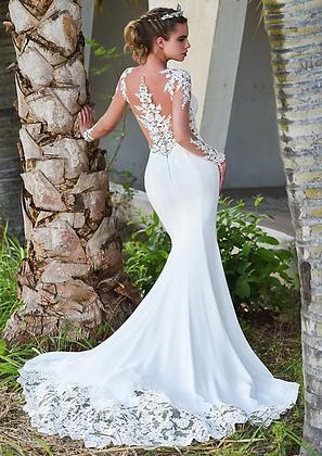 Robe de mariée Sirène Sydney en dentelle manches longues pronovia soldes livraison gratuite france bridal wedding dress