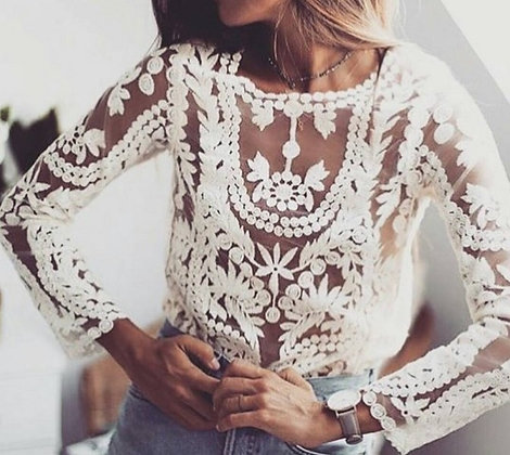 Blouse manches longues Brodée Gypsy Mind