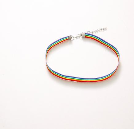 Collier bijoux ras de cou LGBT Gaypride rainbow