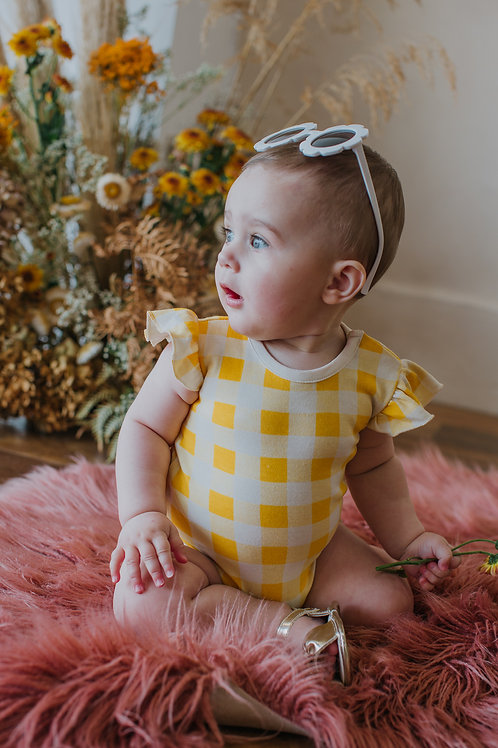 Ruffle Bodysuit Golden Plaid