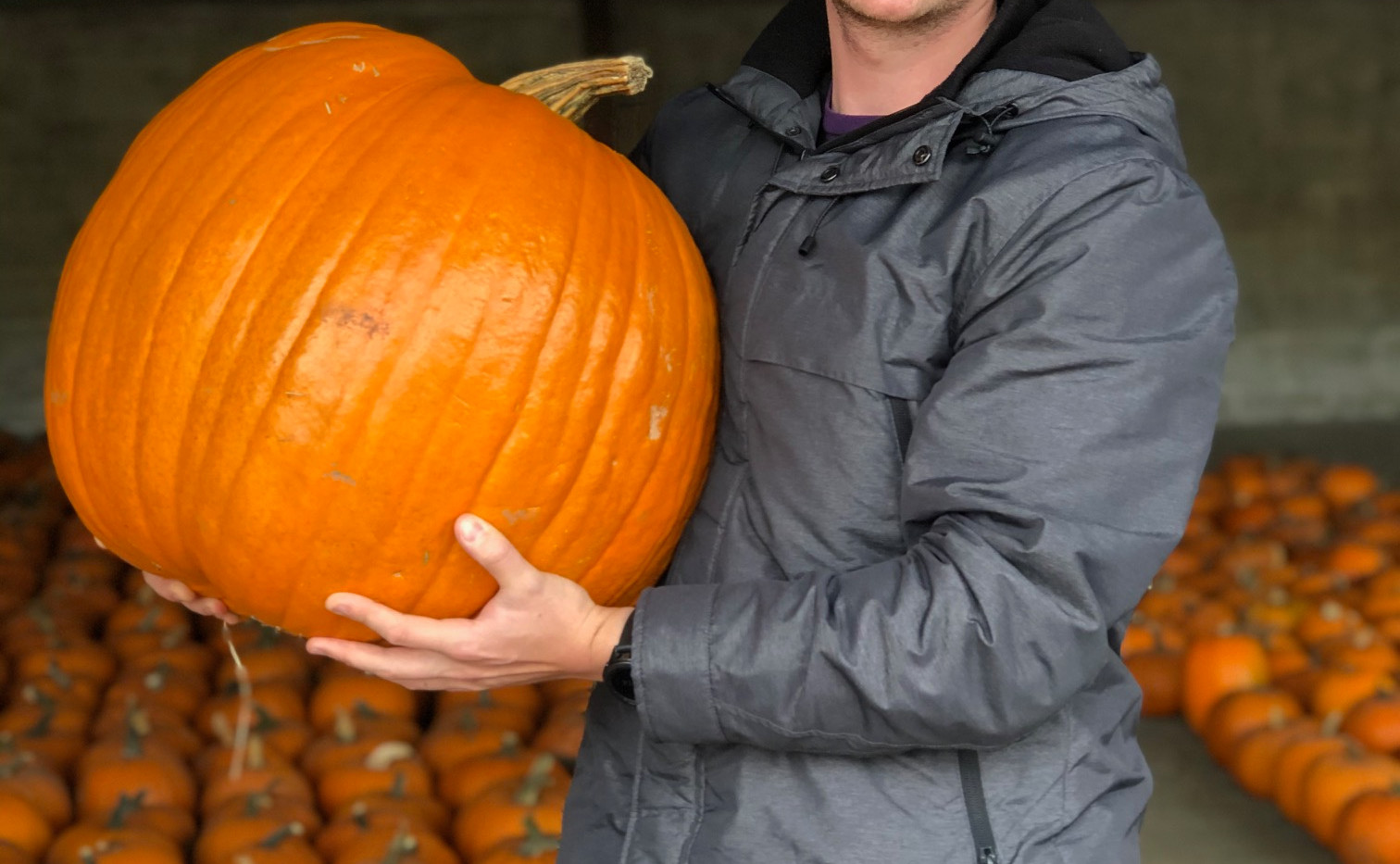 This Customer Proving his Strength with a Monster Pumpkin