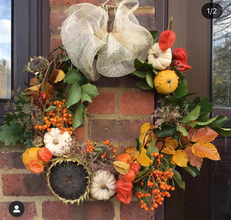 Autumn Wreath using Flowers and Pumpkins