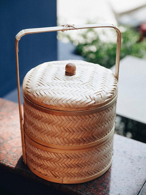 Hộp Tre Đan Tay Có Quai - 2 Tầng, Tròn / Bamboo Woven Box - 2 Layers, Round, Whi