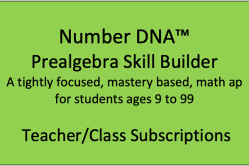 Number DNA PreAlgebra Skill Builder - Classroom Subscription