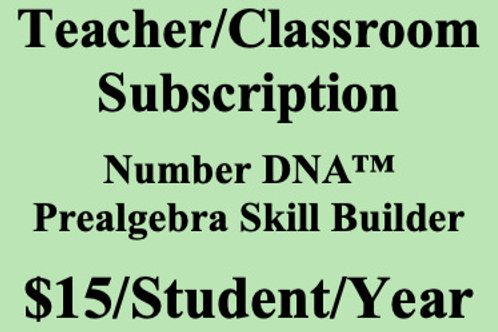 Number DNA PreAlgebra Skill Builder - Classroom Subscription