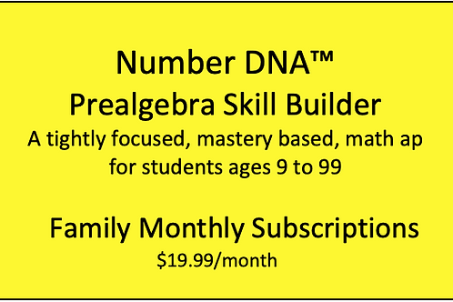 Number DNA PreAlgebra Skill Builder - Family Monthly  Subscription