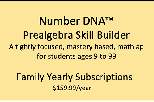 Number DNA PreAlgebra Skill Builder - Family Yearly Subscription