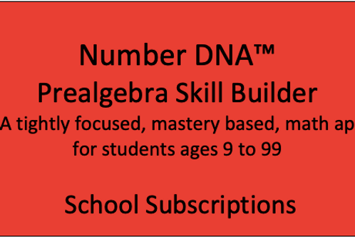 Number DNA PreAlgebra Skill Builder - School Subscription