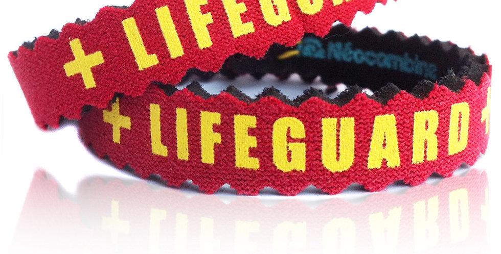 Bracelet,bijou,surf,combinaison recyclée,fabrication,artisanale,design,Neocombine,sérigraphie,cadeau,plage,lifeguard,rouge