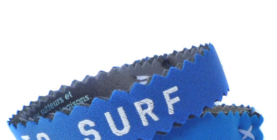 Bracelet,bijou,surf,combinaison recyclée,fabrication,artisanale,design,Neocombine,sérigraphie,cadeau,plage,borntosurf,bleu