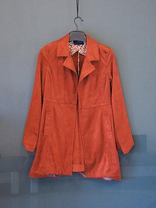 棗紅色長身外套(無鈕)