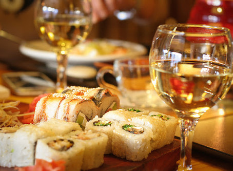 Afscheid met sushi en wijn