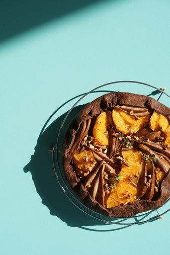 Tarte cacao, orange et thym
