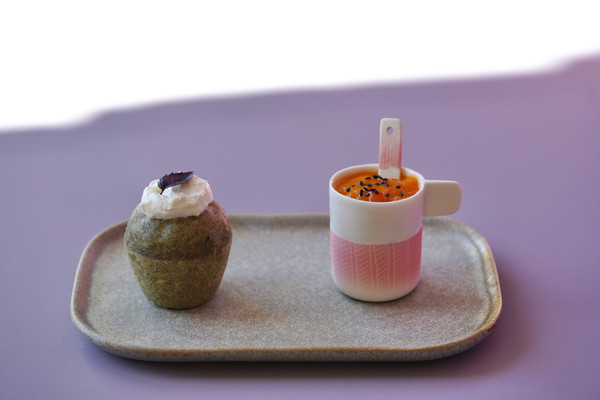Moelleux coco sésame à la vapeur & curd d'abricot
