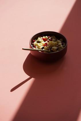 Taboulé de fruits d'été, baies de goji et menthe