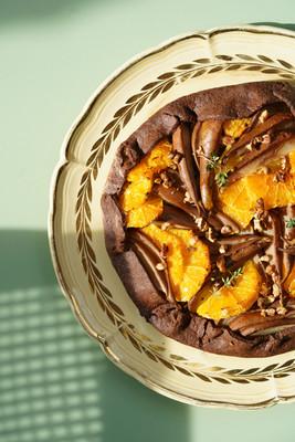 Tarte cacao, orange et thym