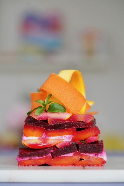 Terrine colorée de légumes, menthe et citron vert