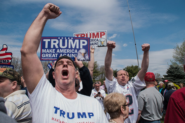 Donald Trump's supporters take part at a rally during his campaign in Warwick, Rhode Island. 05/11/2016