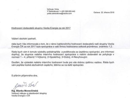 Jak nás hodnotí Veolia Energie ČR