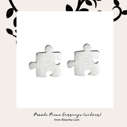 Puzzle Piece Earrings - Silver