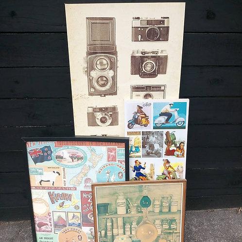 Various framed vintage posters