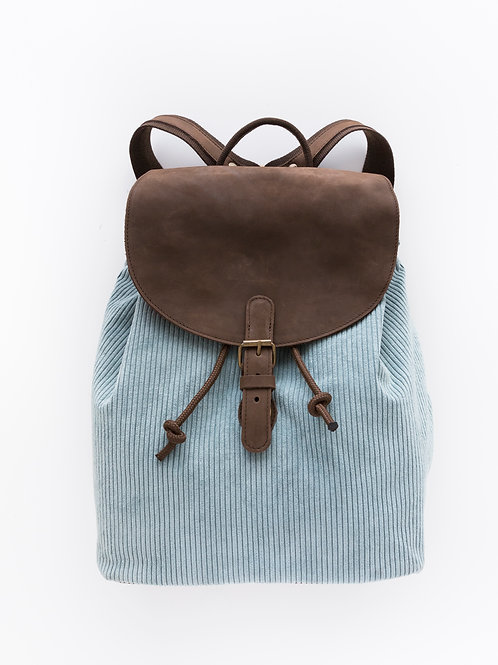 Backpack with leather
