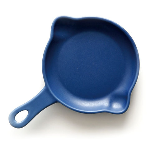 瑞典【GREEGREEN】雙嘴單柄圓形陶瓷烤盤 5吋(藏藍) 盤子 點心盤 餐盤