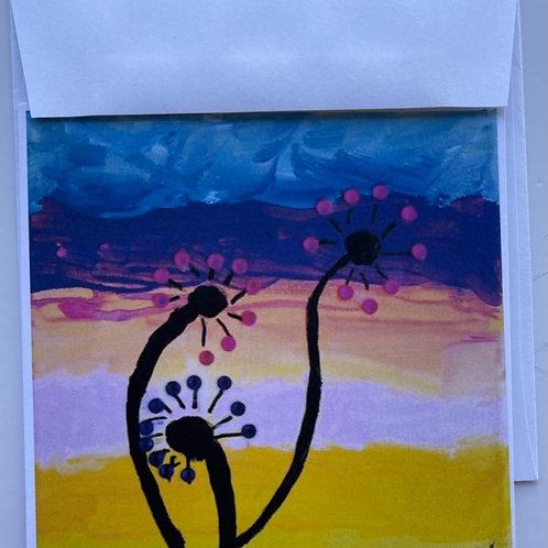 'Shiny Flowers' card