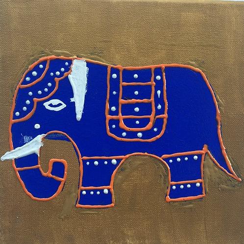 Blue elephant on Gold Background