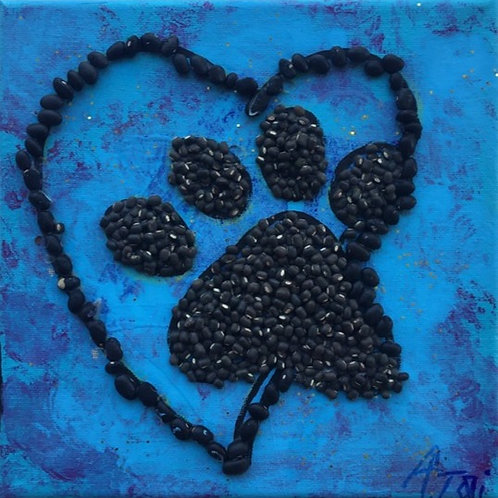 Pawprint on Blue Background