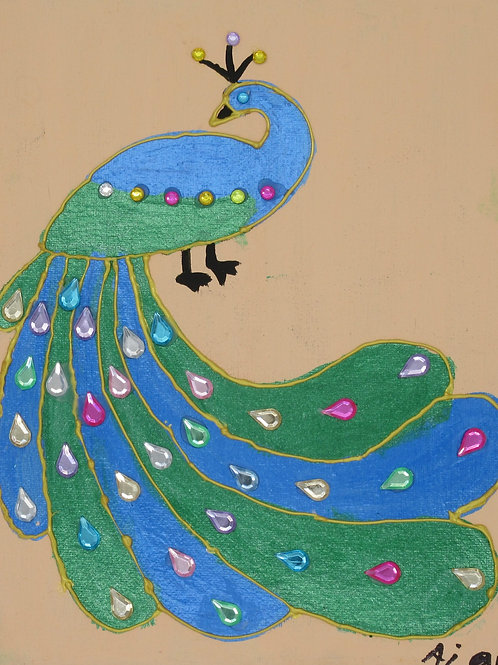 Peacock with Flowing Petals