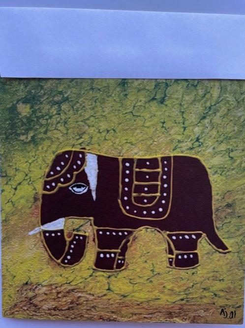 """Elegant Elephant"" square card"