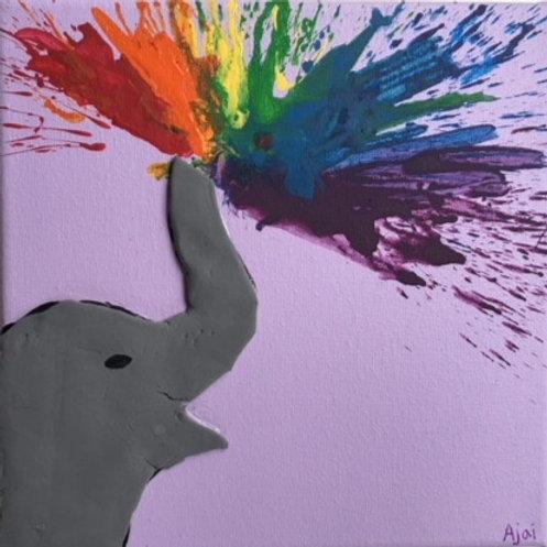 Elephant Splashing Rainbow