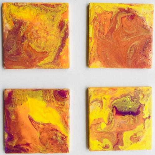 Yellow-Orange-Purple coasters set