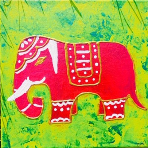 Red Elephant on MultiGreen Background