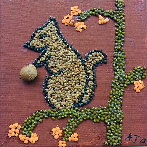 Squirrel Bean Art on Canvas
