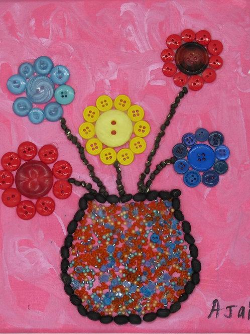 Button Flowers in Vase