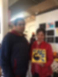 Ajai and Linda who bought his peacock pa