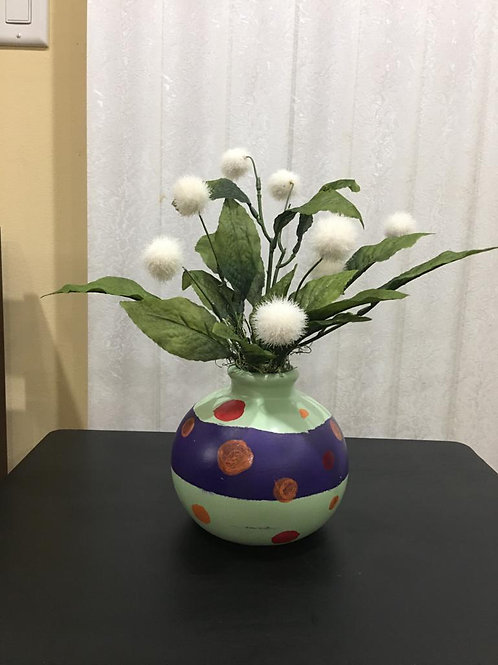 Handpainted Polka Dot vase floral arrangement