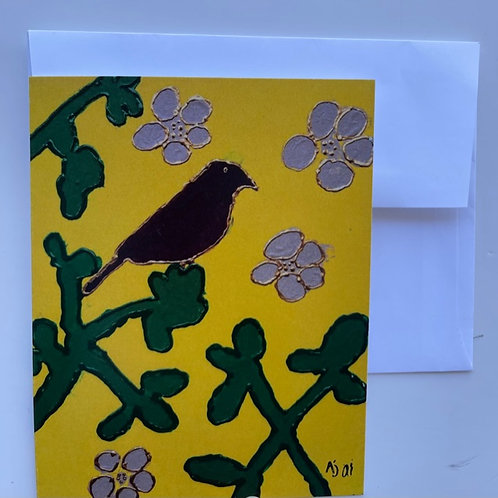 """Purple Bird on a Branch"" card"