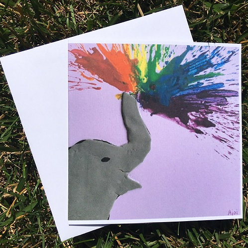 Elephant Spraying Rainbow card