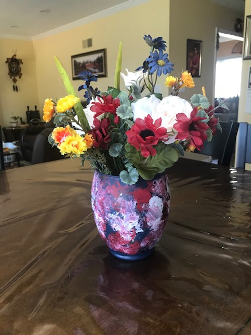 Florals in Painted Glass Vase