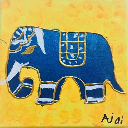 Blue Elephant on Yellow Background