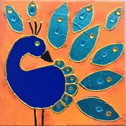 Peacock in Orange Background