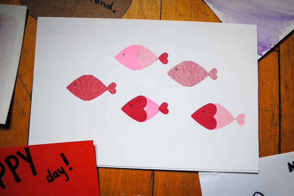 Valentine's Day Card with a school of fish