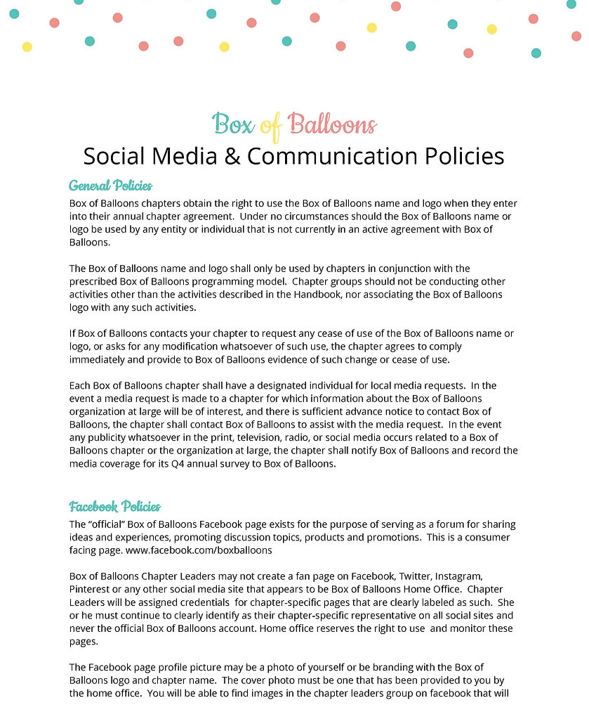 Box of Balloons Social Guidelines & Poli
