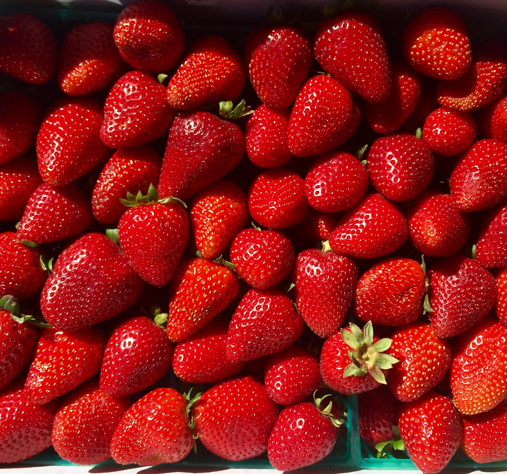 Fresh Strawberries at Que SeRaw SeRaw in Burlingame from Rodriguez Farms in Watsonville