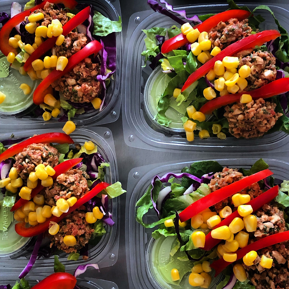 Burrito bowls in compostable containers