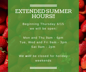 Announcing Extended Summer Hours!