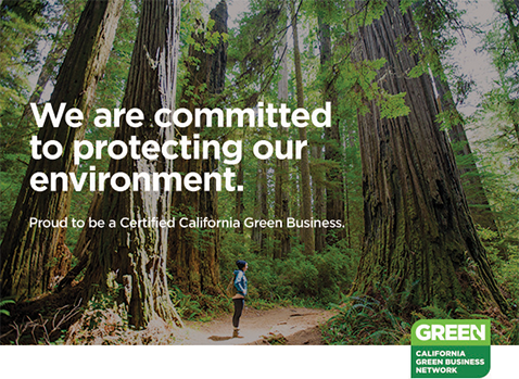 Person standing in redwood forest; Badge of California Green Business Network